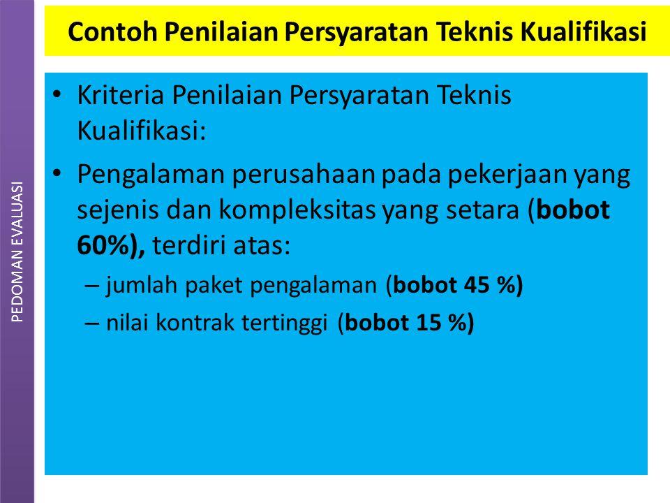 EVALUASI dokumen penawaran Bobot sub unsur ditetapkan Pokja ULP, berdasarkan jenis pekerjaan yang akan dilaksanakan, sesuai LDP.