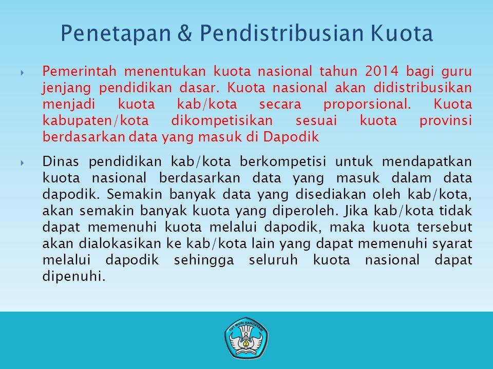  Pemerintah menentukan kuota nasional tahun 2014 bagi guru jenjang pendidikan dasar.
