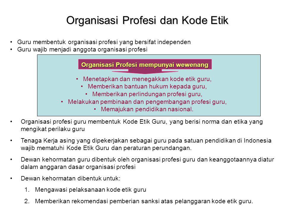 Organisasi Profesi dan Kode Etik Guru membentuk organisasi profesi yang bersifat independen Guru wajib menjadi anggota organisasi profesi Organisasi P