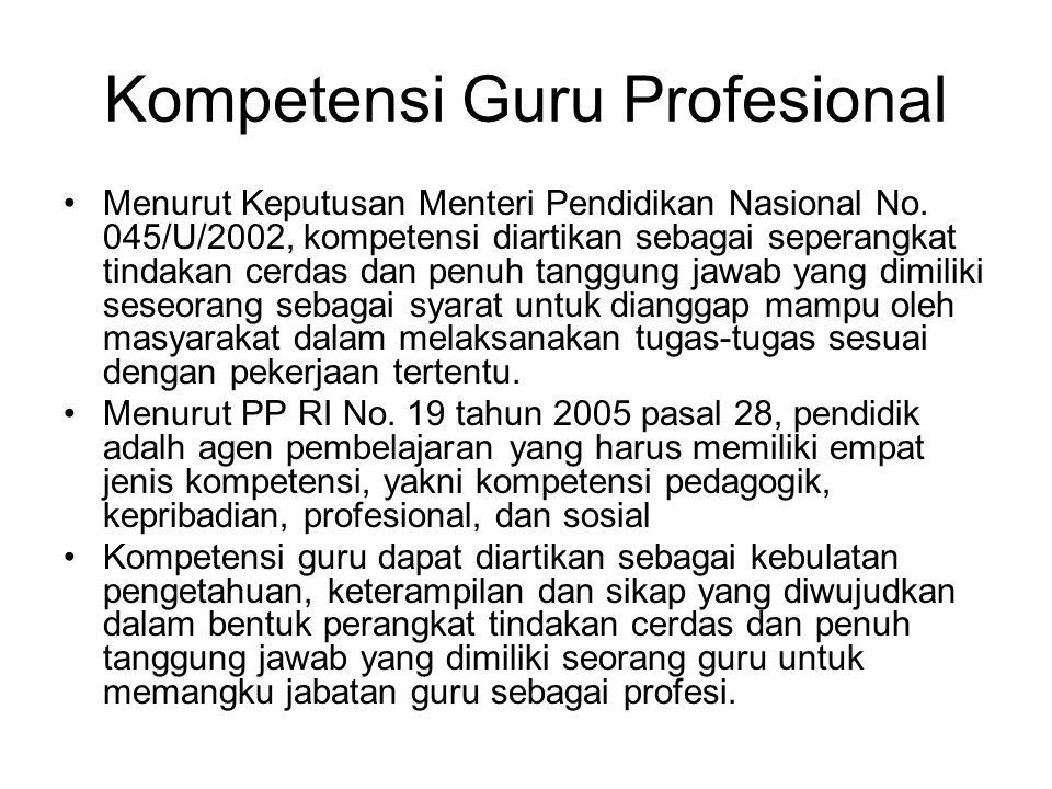 Kompetensi Guru Profesional Menurut Keputusan Menteri Pendidikan Nasional No. 045/U/2002, kompetensi diartikan sebagai seperangkat tindakan cerdas dan