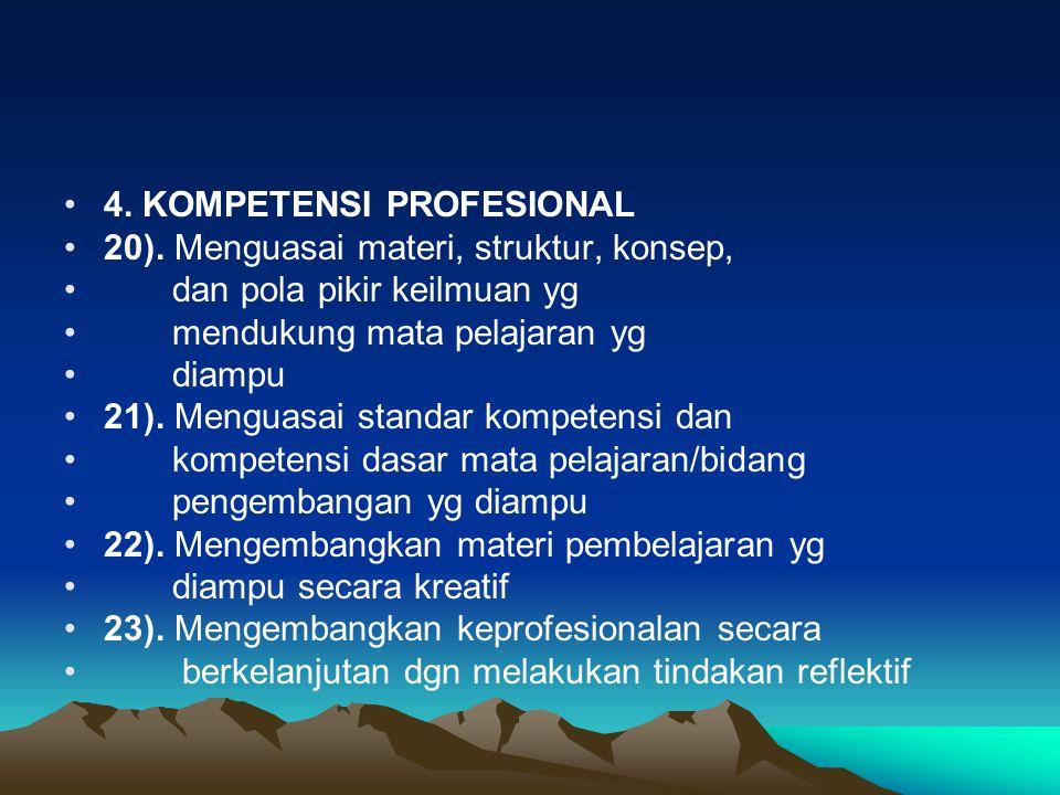 4. KOMPETENSI PROFESIONAL 20). Menguasai materi, struktur, konsep, dan pola pikir keilmuan yg mendukung mata pelajaran yg diampu 21). Menguasai standa