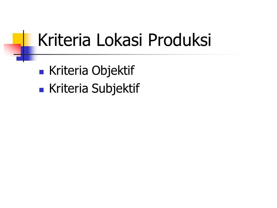 Kriteria Lokasi Produksi Kriteria Objektif Kriteria Subjektif