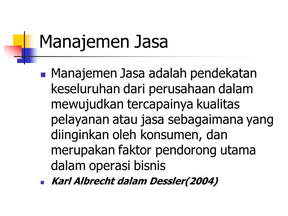 Manajemen Jasa Manajemen Jasa adalah pendekatan keseluruhan dari perusahaan dalam mewujudkan tercapainya kualitas pelayanan atau jasa sebagaimana yang diinginkan oleh konsumen, dan merupakan faktor pendorong utama dalam operasi bisnis Karl Albrecht dalam Dessler(2004)