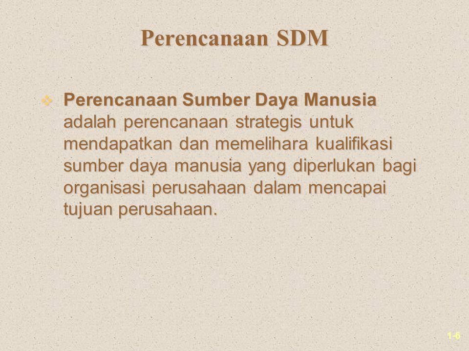 1-6 Perencanaan SDM v Perencanaan Sumber Daya Manusia adalah perencanaan strategis untuk mendapatkan dan memelihara kualifikasi sumber daya manusia ya