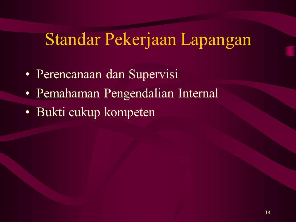 14 Standar Pekerjaan Lapangan Perencanaan dan Supervisi Pemahaman Pengendalian Internal Bukti cukup kompeten
