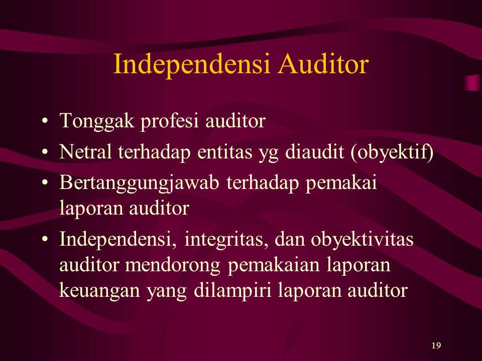 19 Independensi Auditor Tonggak profesi auditor Netral terhadap entitas yg diaudit (obyektif) Bertanggungjawab terhadap pemakai laporan auditor Indepe