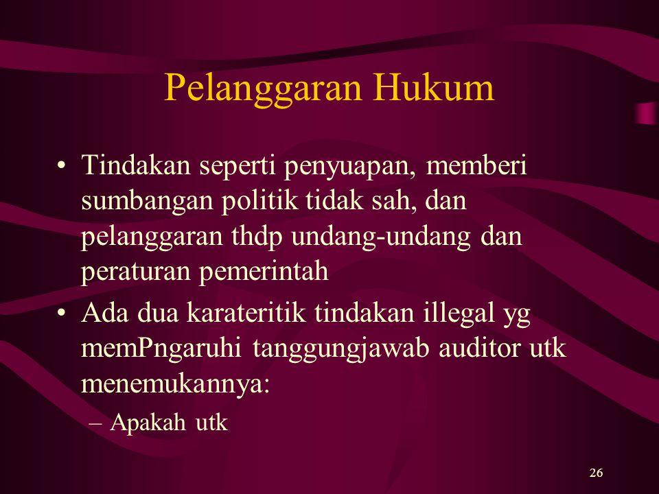 26 Pelanggaran Hukum Tindakan seperti penyuapan, memberi sumbangan politik tidak sah, dan pelanggaran thdp undang-undang dan peraturan pemerintah Ada