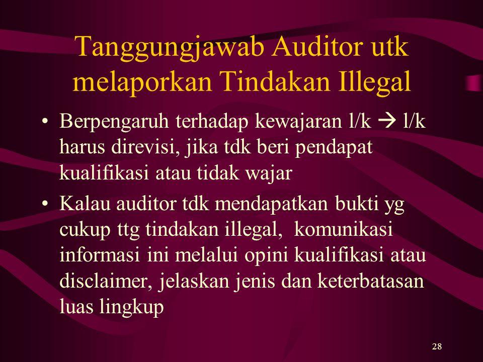 28 Tanggungjawab Auditor utk melaporkan Tindakan Illegal Berpengaruh terhadap kewajaran l/k  l/k harus direvisi, jika tdk beri pendapat kualifikasi a