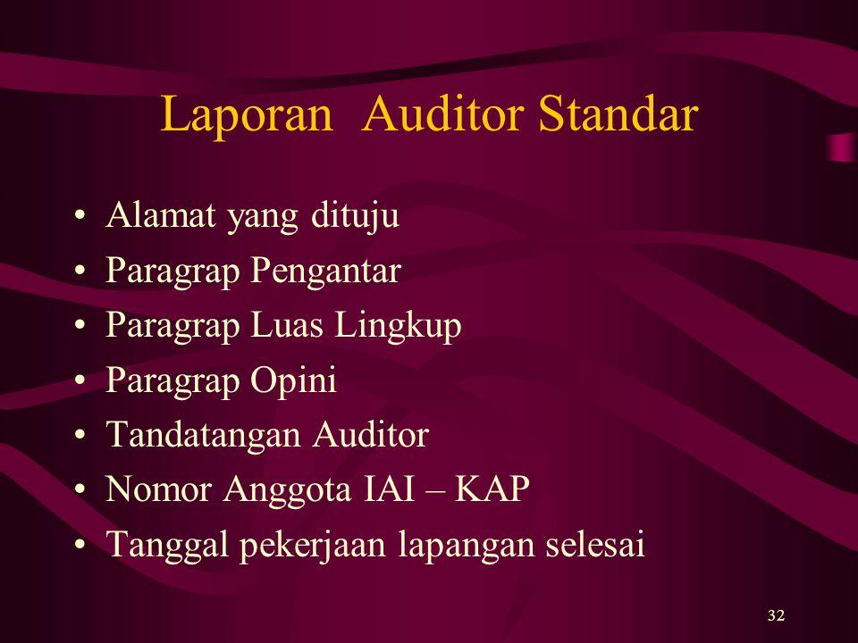 32 Laporan Auditor Standar Alamat yang dituju Paragrap Pengantar Paragrap Luas Lingkup Paragrap Opini Tandatangan Auditor Nomor Anggota IAI – KAP Tang