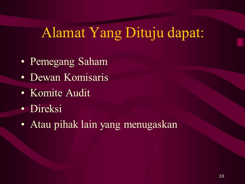 33 Alamat Yang Dituju dapat: Pemegang Saham Dewan Komisaris Komite Audit Direksi Atau pihak lain yang menugaskan
