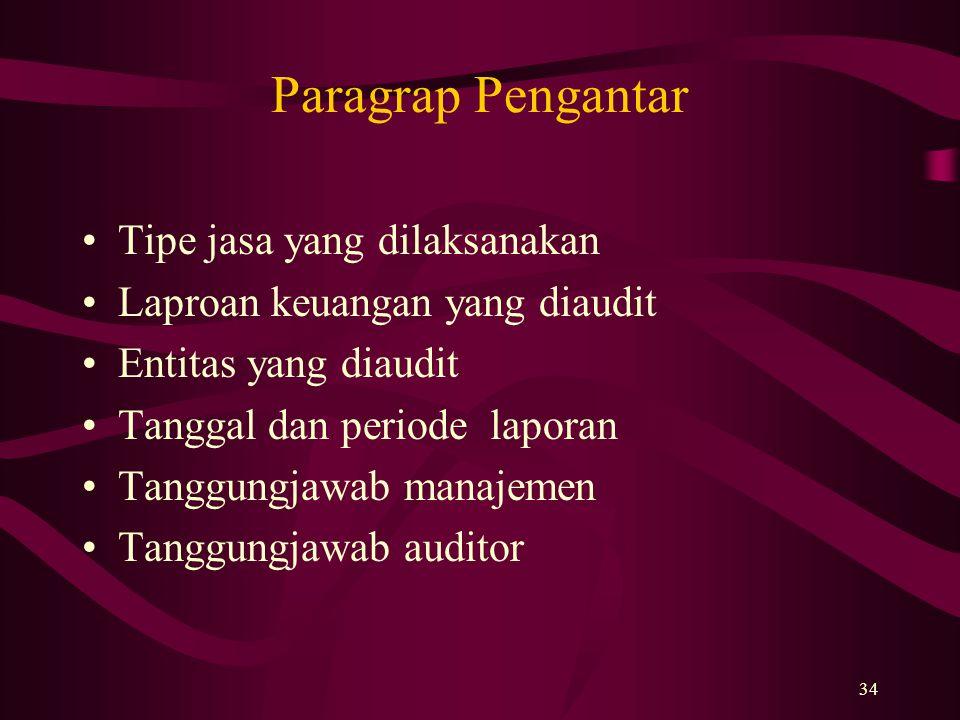 34 Paragrap Pengantar Tipe jasa yang dilaksanakan Laproan keuangan yang diaudit Entitas yang diaudit Tanggal dan periode laporan Tanggungjawab manajem