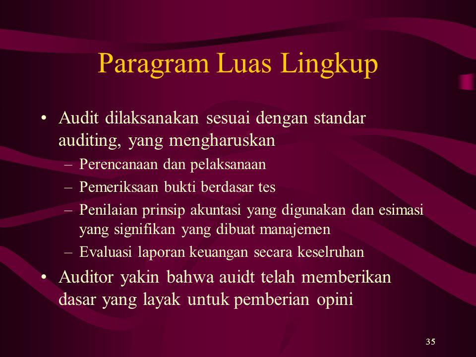 35 Paragram Luas Lingkup Audit dilaksanakan sesuai dengan standar auditing, yang mengharuskan –Perencanaan dan pelaksanaan –Pemeriksaan bukti berdasar