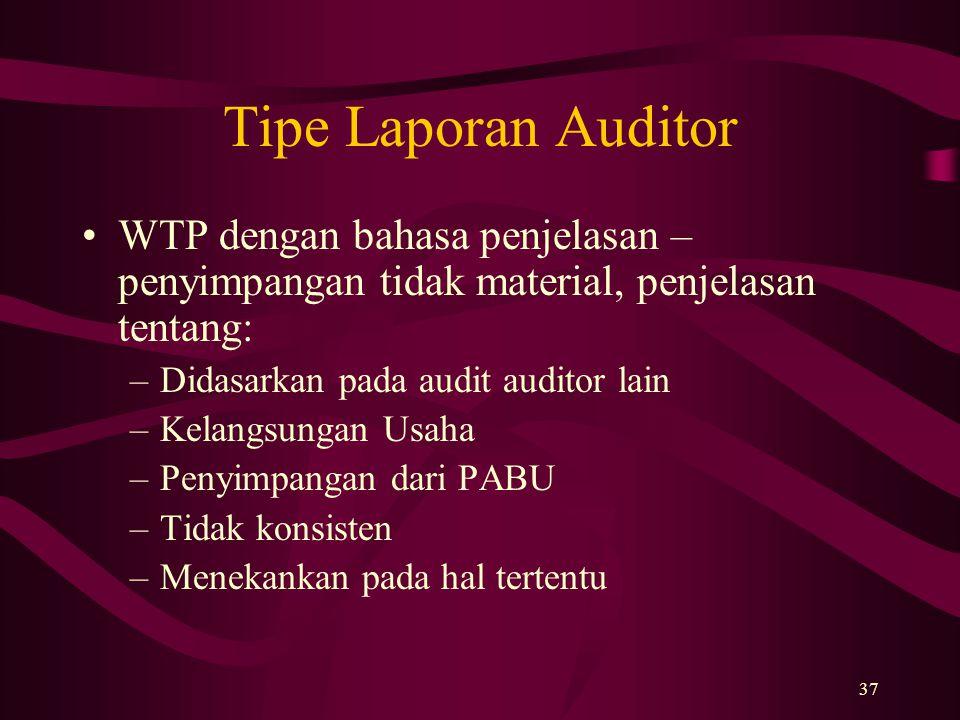 37 Tipe Laporan Auditor WTP dengan bahasa penjelasan – penyimpangan tidak material, penjelasan tentang: –Didasarkan pada audit auditor lain –Kelangsun