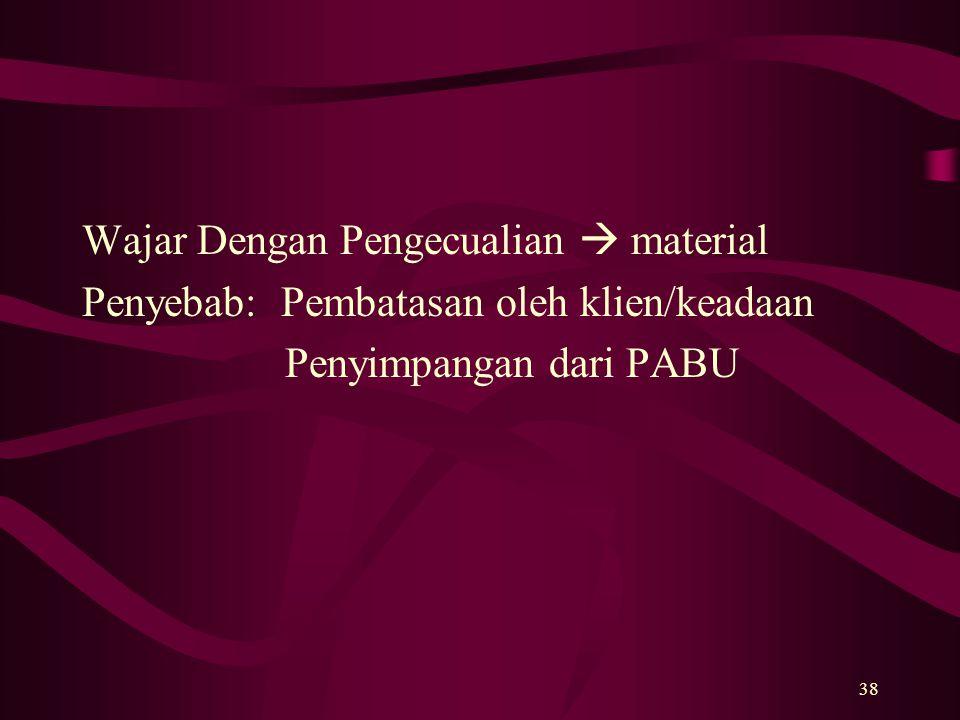 38 Wajar Dengan Pengecualian  material Penyebab: Pembatasan oleh klien/keadaan Penyimpangan dari PABU