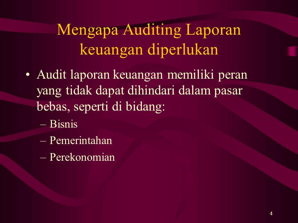 4 Mengapa Auditing Laporan keuangan diperlukan Audit laporan keuangan memiliki peran yang tidak dapat dihindari dalam pasar bebas, seperti di bidang: