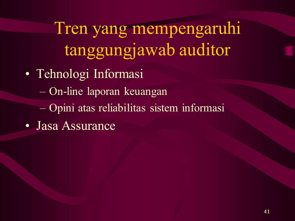 41 Tren yang mempengaruhi tanggungjawab auditor Tehnologi Informasi –On-line laporan keuangan –Opini atas reliabilitas sistem informasi Jasa Assurance