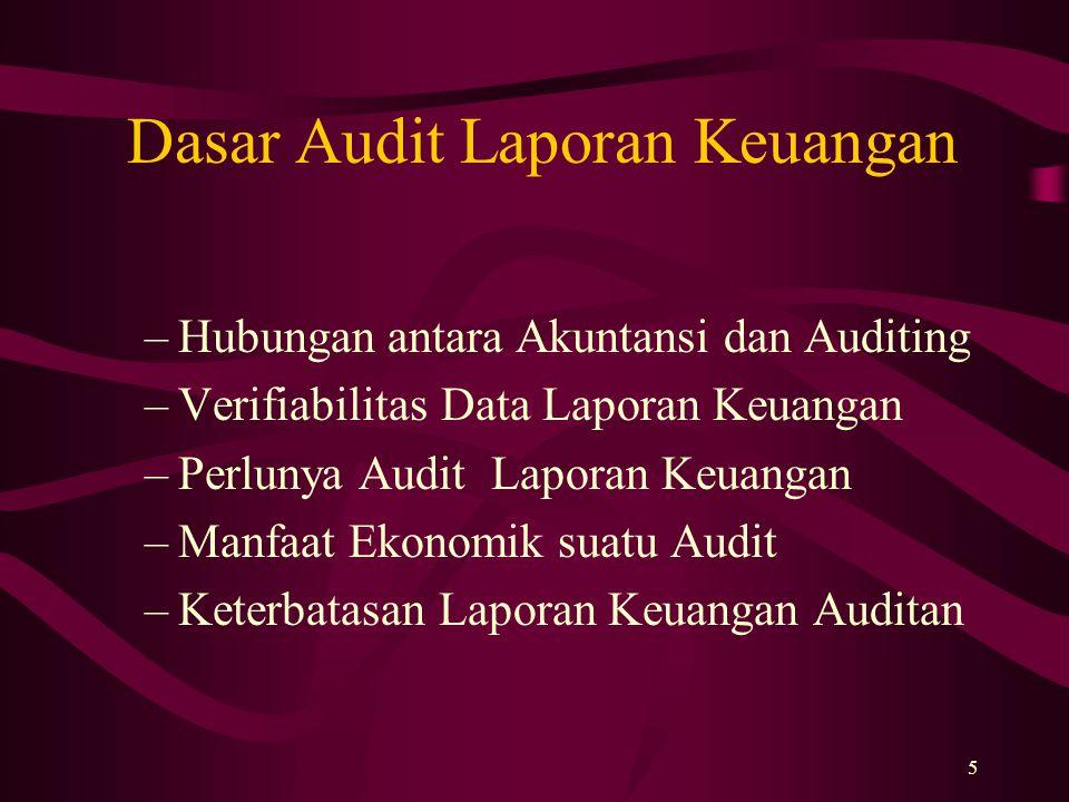 5 Dasar Audit Laporan Keuangan –Hubungan antara Akuntansi dan Auditing –Verifiabilitas Data Laporan Keuangan –Perlunya Audit Laporan Keuangan –Manfaat