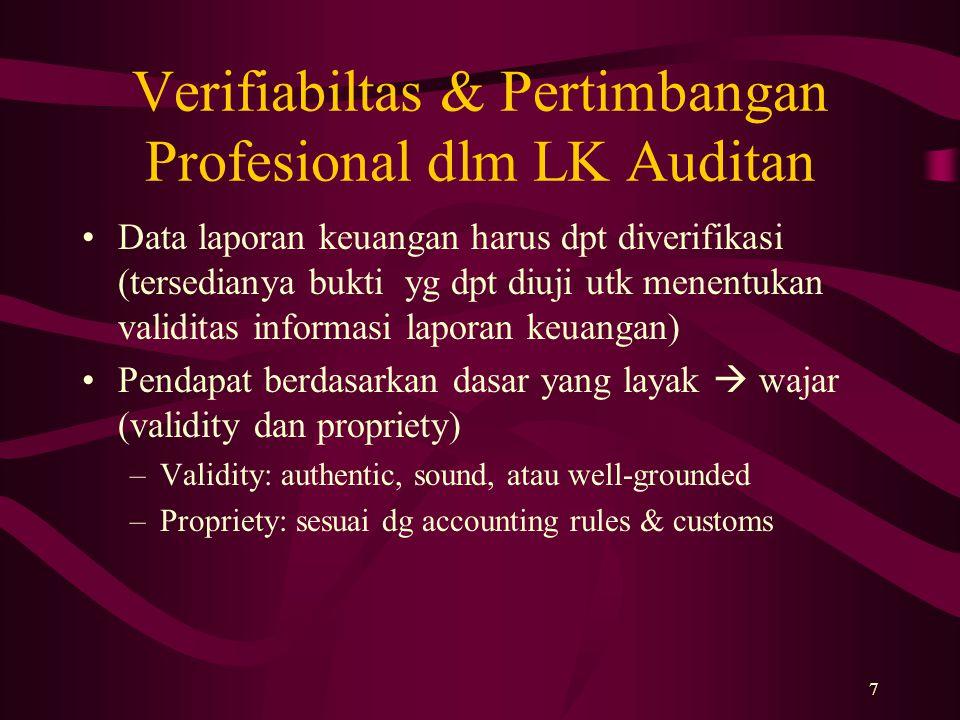 7 Verifiabiltas & Pertimbangan Profesional dlm LK Auditan Data laporan keuangan harus dpt diverifikasi (tersedianya bukti yg dpt diuji utk menentukan
