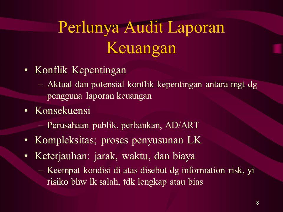 8 Perlunya Audit Laporan Keuangan Konflik Kepentingan –Aktual dan potensial konflik kepentingan antara mgt dg pengguna laporan keuangan Konsekuensi –P