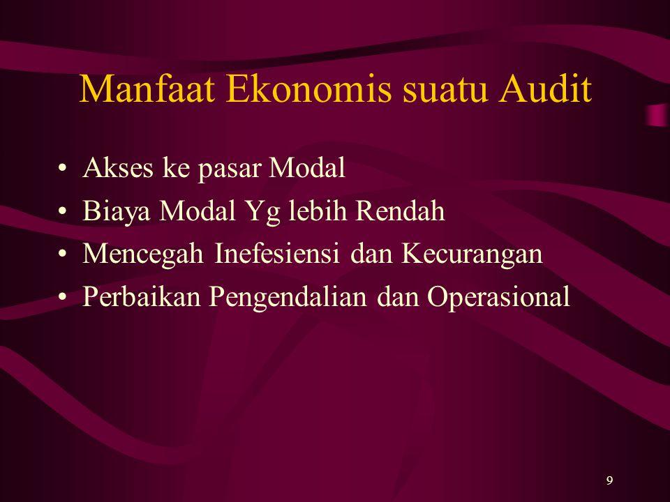 9 Manfaat Ekonomis suatu Audit Akses ke pasar Modal Biaya Modal Yg lebih Rendah Mencegah Inefesiensi dan Kecurangan Perbaikan Pengendalian dan Operasi