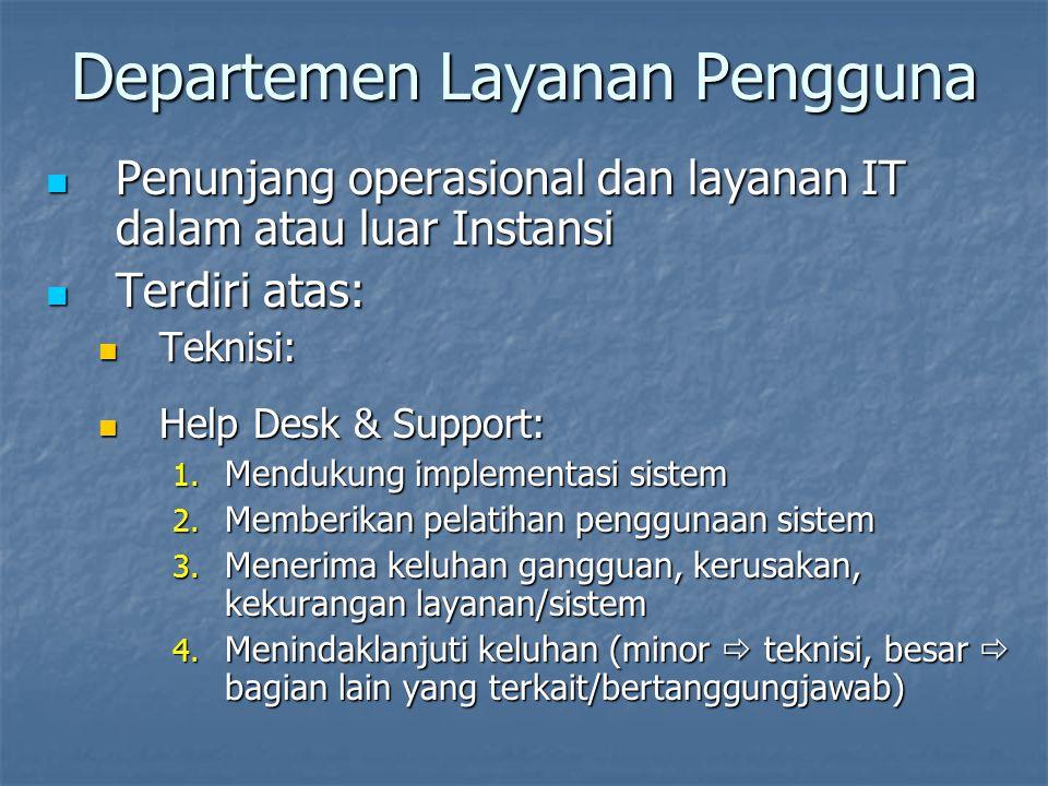 Departemen Layanan Pengguna Penunjang operasional dan layanan IT dalam atau luar Instansi Penunjang operasional dan layanan IT dalam atau luar Instans