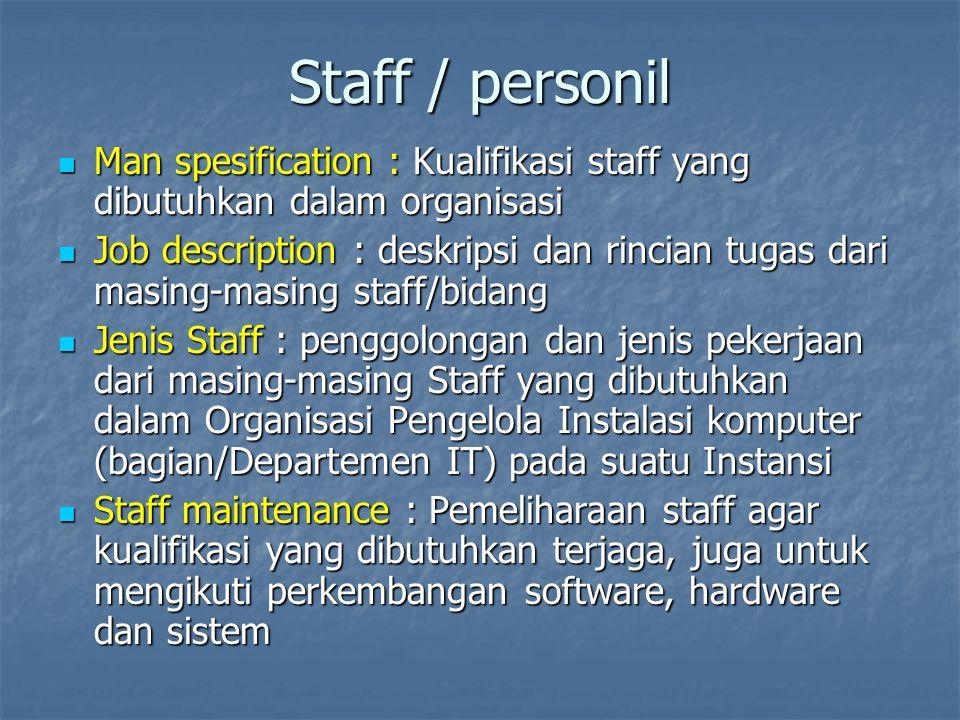 Staff / personil Man spesification : Kualifikasi staff yang dibutuhkan dalam organisasi Man spesification : Kualifikasi staff yang dibutuhkan dalam or
