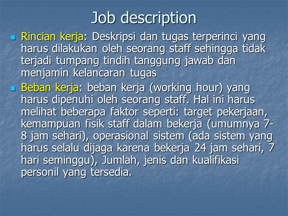 Job description Rincian kerja: Deskripsi dan tugas terperinci yang harus dilakukan oleh seorang staff sehingga tidak terjadi tumpang tindih tanggung j
