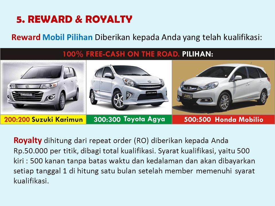 5. REWARD & ROYALTY Reward Mobil Pilihan Diberikan kepada Anda yang telah kualifikasi: Royalty dihitung dari repeat order (RO) diberikan kepada Anda R