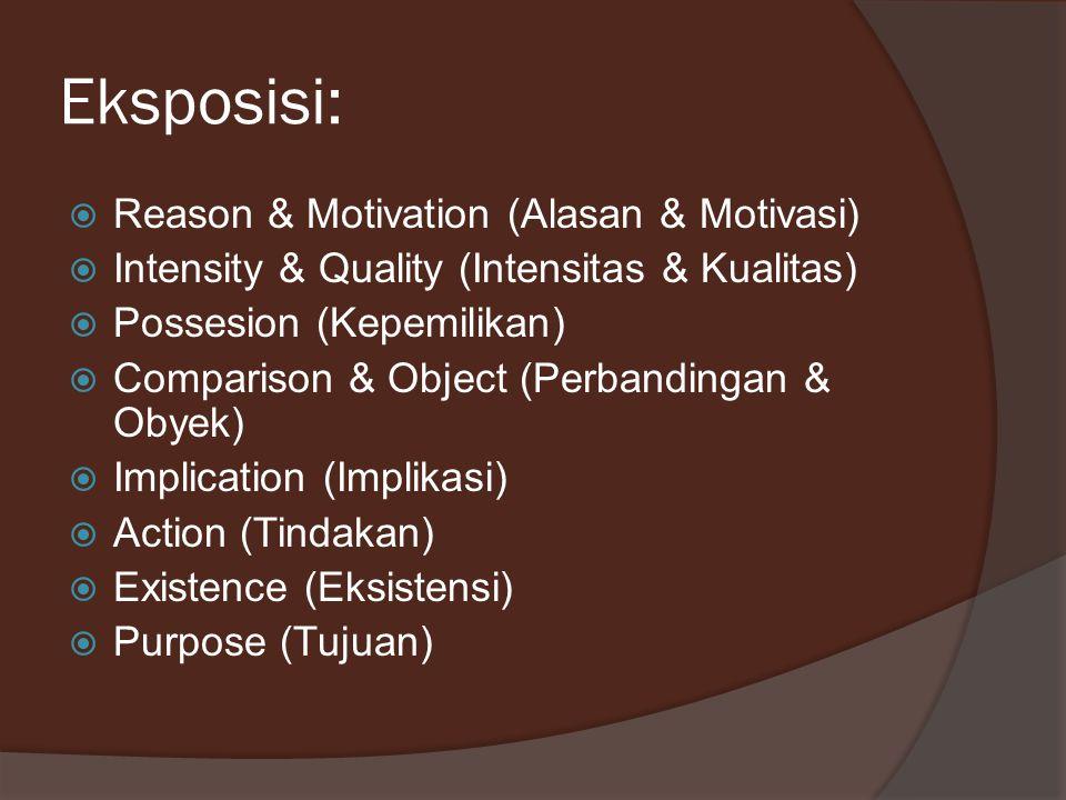 Eksposisi:  Reason & Motivation (Alasan & Motivasi)  Intensity & Quality (Intensitas & Kualitas)  Possesion (Kepemilikan)  Comparison & Object (Pe