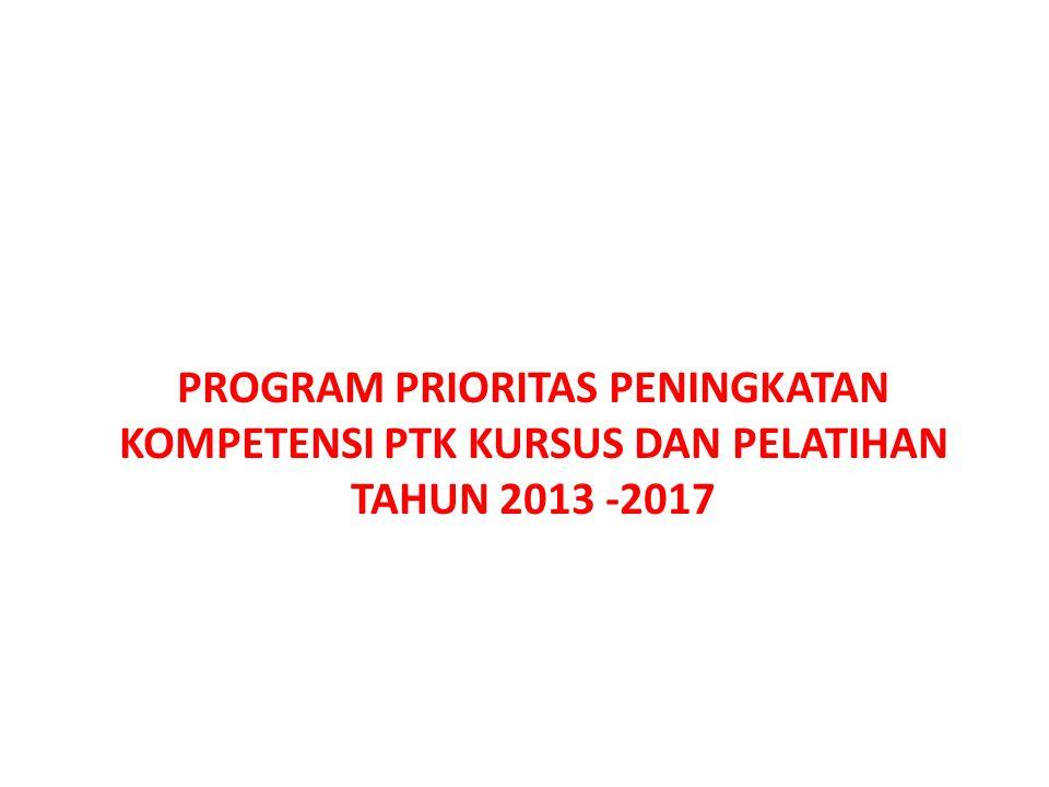 PROGRAM PRIORITAS PENINGKATAN KOMPETENSI PTK KURSUS DAN PELATIHAN TAHUN 2013 -2017