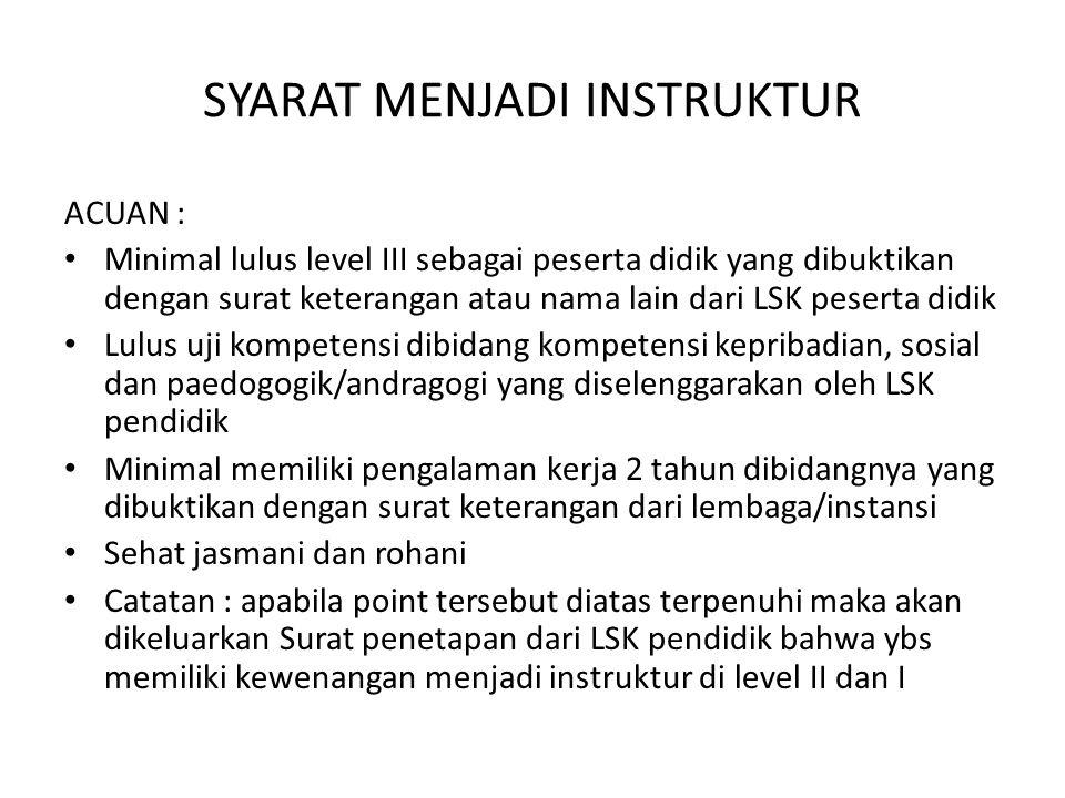 SYARAT MENJADI INSTRUKTUR ACUAN : Minimal lulus level III sebagai peserta didik yang dibuktikan dengan surat keterangan atau nama lain dari LSK pesert