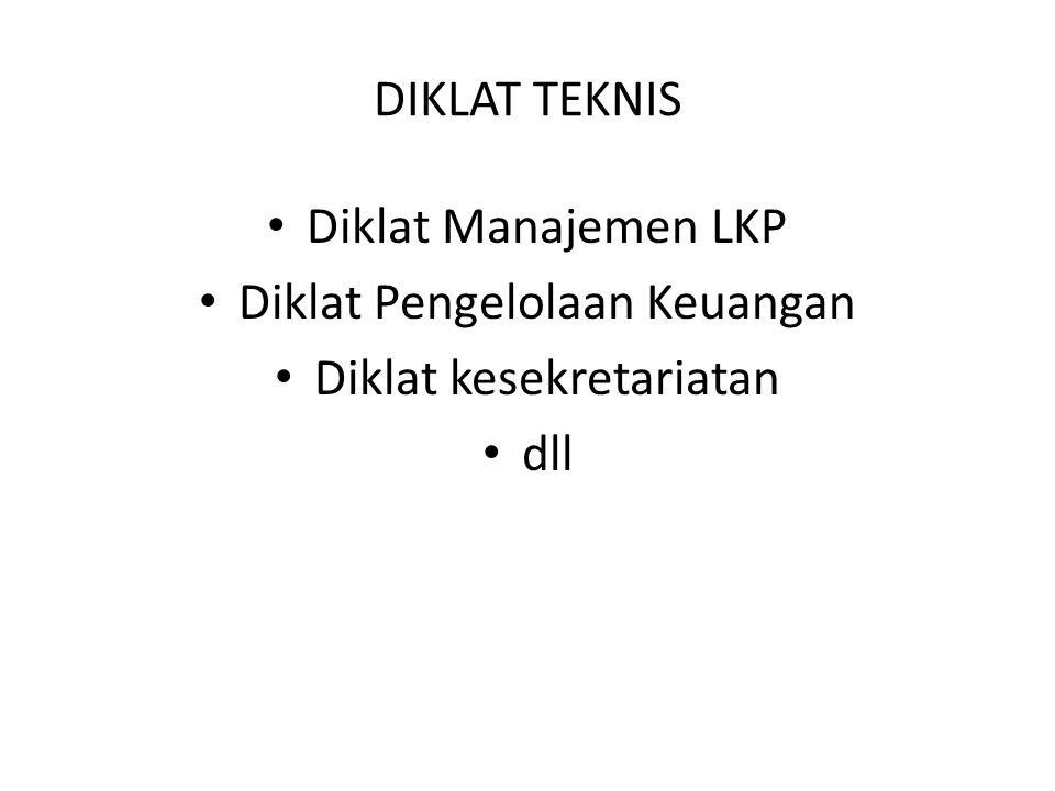 DIKLAT TEKNIS Diklat Manajemen LKP Diklat Pengelolaan Keuangan Diklat kesekretariatan dll