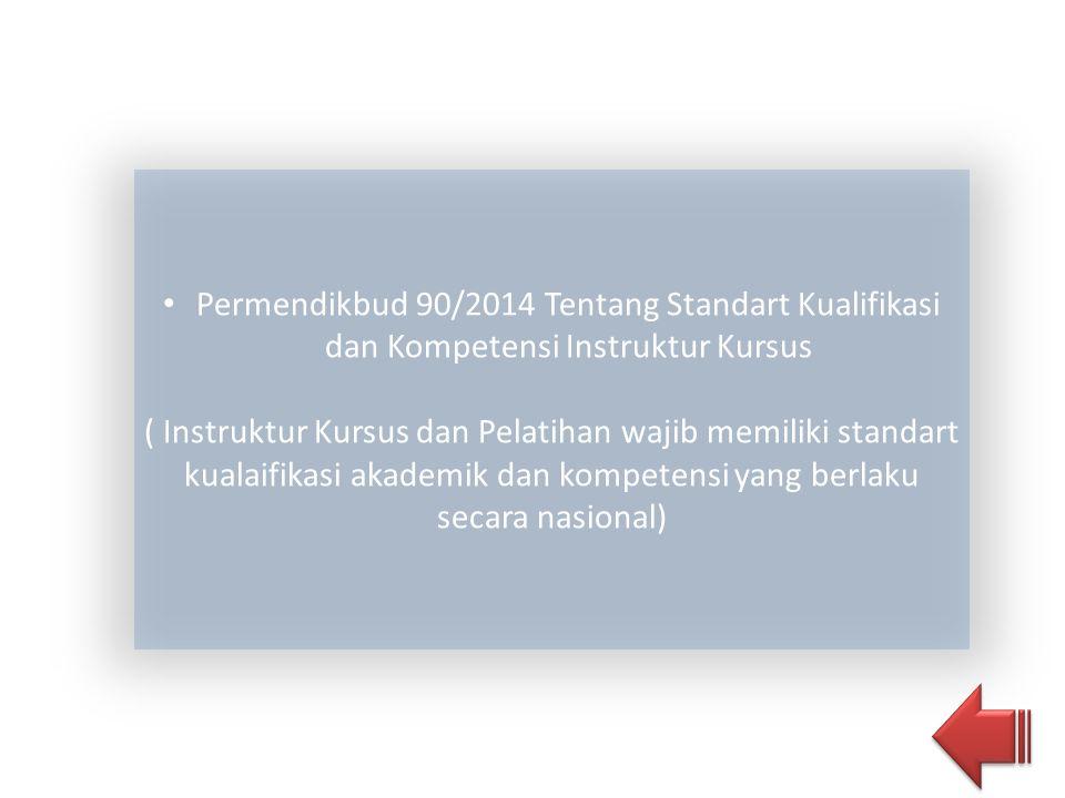 Permendikbud 90/2014 Tentang Standart Kualifikasi dan Kompetensi Instruktur Kursus ( Instruktur Kursus dan Pelatihan wajib memiliki standart kualaifik