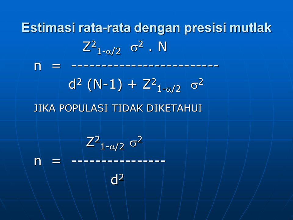 Estimasi rata-rata dengan presisi mutlak Z 2 1-/2  2. N Z 2 1-/2  2. N n = ------------------------- d 2 (N-1) + Z 2 1-/2  2 d 2 (N-1) + Z 2 1-