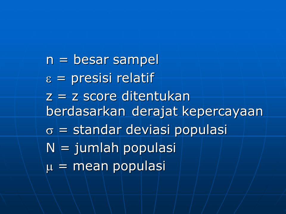 n = besar sampel  = presisi relatif z = z score ditentukan berdasarkan derajat kepercayaan  = standar deviasi populasi N = jumlah populasi  = mean