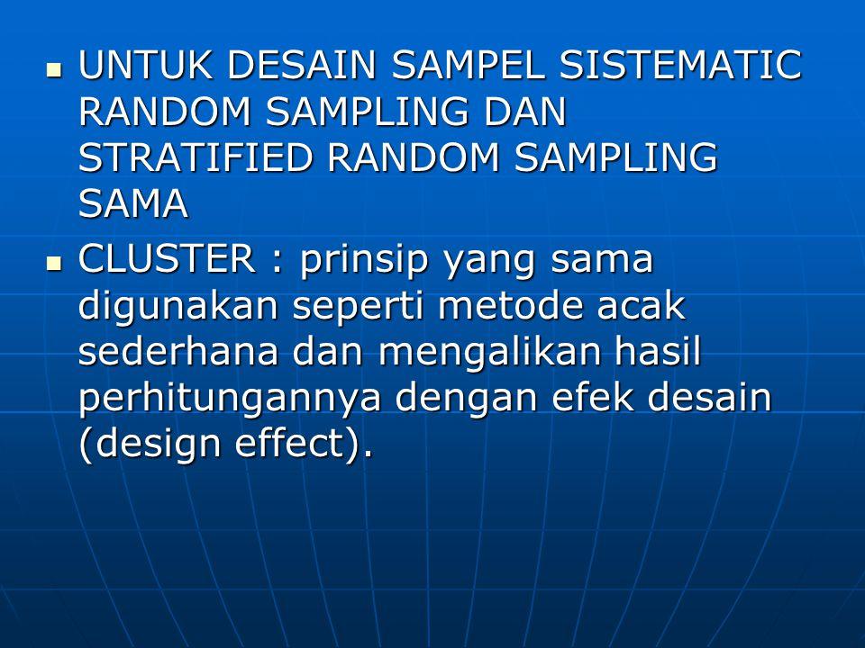 UNTUK DESAIN SAMPEL SISTEMATIC RANDOM SAMPLING DAN STRATIFIED RANDOM SAMPLING SAMA UNTUK DESAIN SAMPEL SISTEMATIC RANDOM SAMPLING DAN STRATIFIED RANDO
