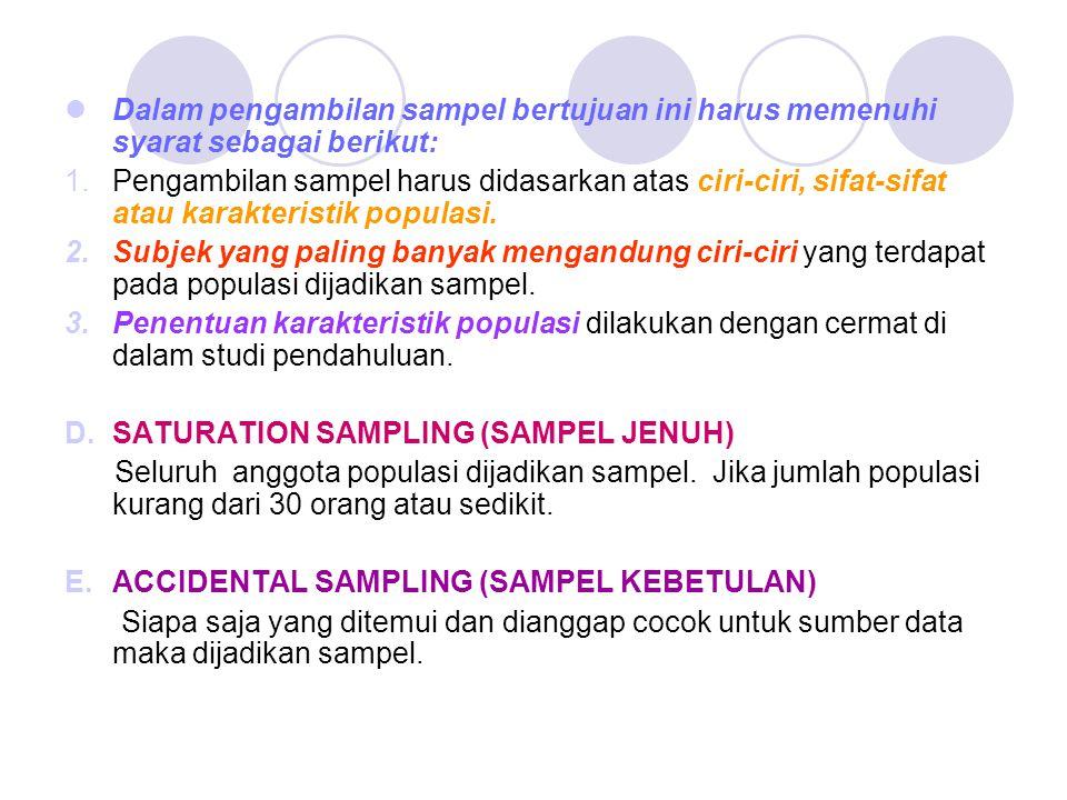 Dalam pengambilan sampel bertujuan ini harus memenuhi syarat sebagai berikut: 1.Pengambilan sampel harus didasarkan atas ciri-ciri, sifat-sifat atau k