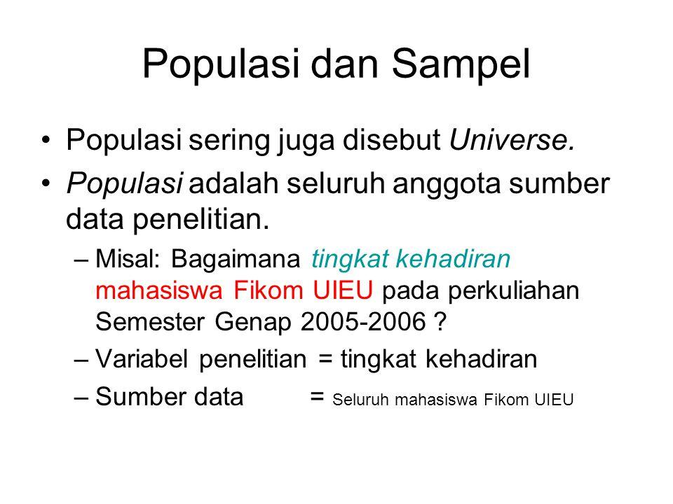 Populasi dan Sampel Populasi sering juga disebut Universe. Populasi adalah seluruh anggota sumber data penelitian. –Misal: Bagaimana tingkat kehadiran