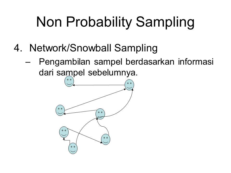 Non Probability Sampling 4.Network/Snowball Sampling –Pengambilan sampel berdasarkan informasi dari sampel sebelumnya.