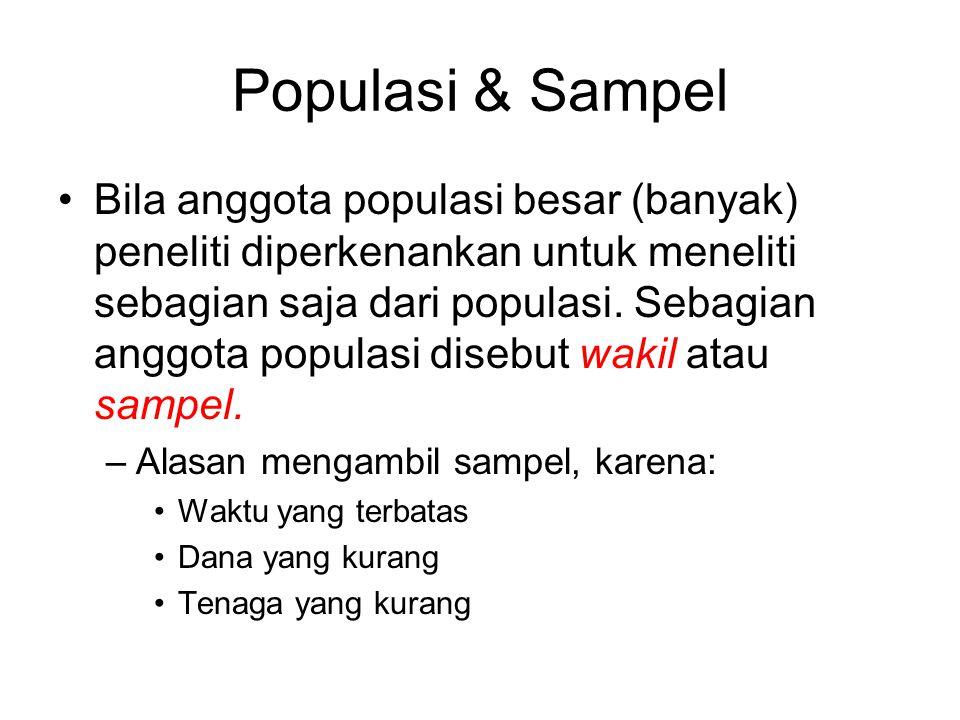 Populasi & Sampel Bila anggota populasi besar (banyak) peneliti diperkenankan untuk meneliti sebagian saja dari populasi. Sebagian anggota populasi di