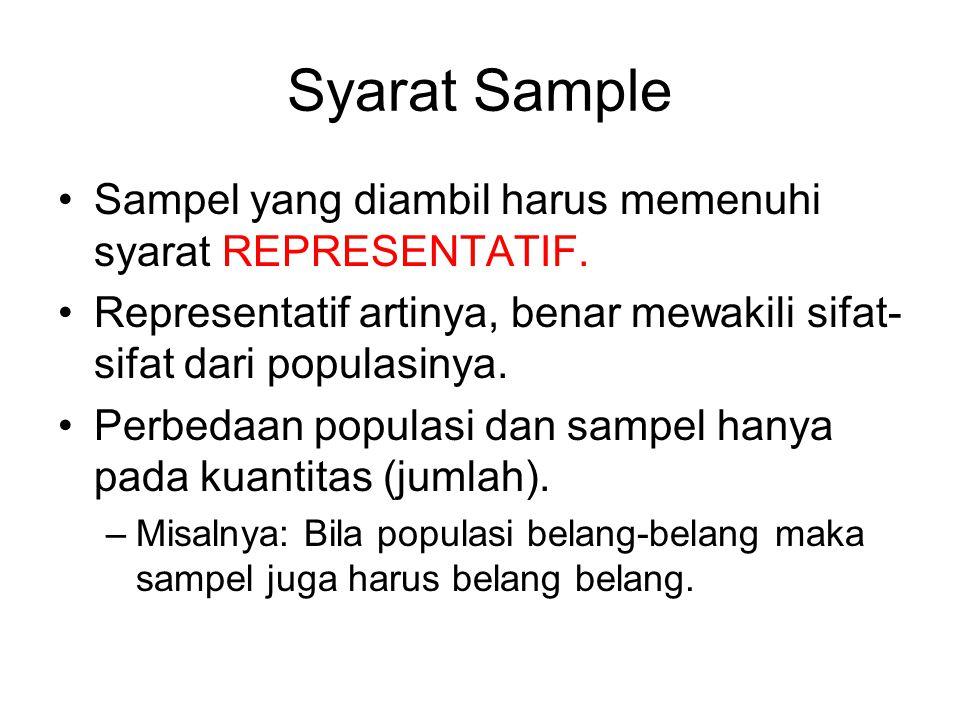 Syarat Sample Sampel yang diambil harus memenuhi syarat REPRESENTATIF. Representatif artinya, benar mewakili sifat- sifat dari populasinya. Perbedaan