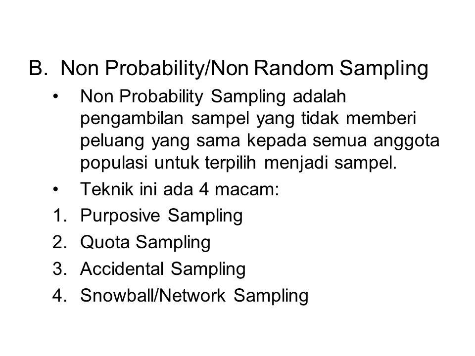 B.Non Probability/Non Random Sampling Non Probability Sampling adalah pengambilan sampel yang tidak memberi peluang yang sama kepada semua anggota pop