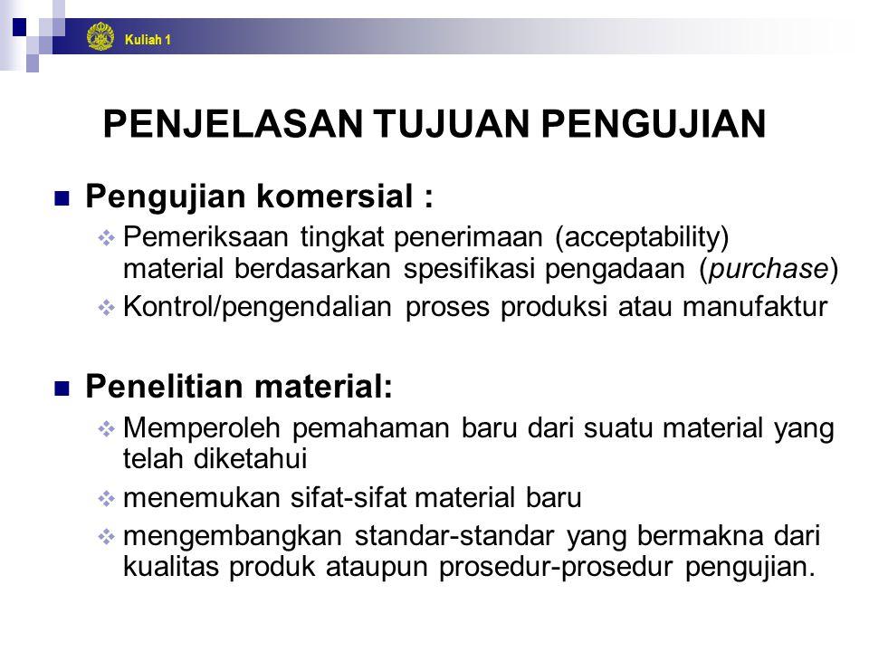 Kuliah 1 PENJELASAN TUJUAN PENGUJIAN Pengujian komersial :  Pemeriksaan tingkat penerimaan (acceptability) material berdasarkan spesifikasi pengadaan