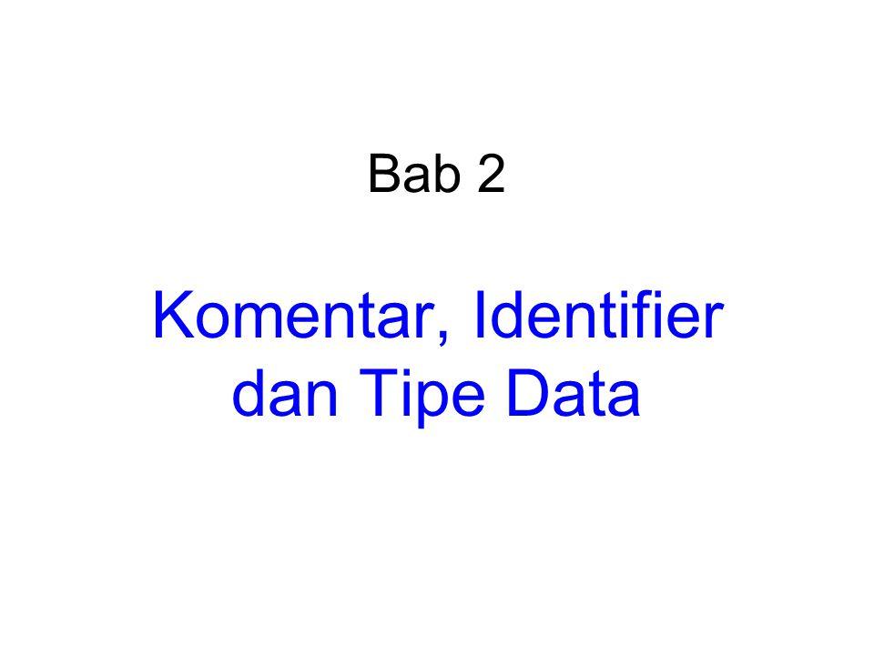 Tipe bilangan riil Tipe data Ukuran (bit) RentangPresisi float321.2E-38 sampai 3.4E+38 6 digit presisi double642.3E-308 sampai 1.7E+308 15 digit presisi long double 803.4E-4932 sampai 1.1E+4932 19 digit presisi