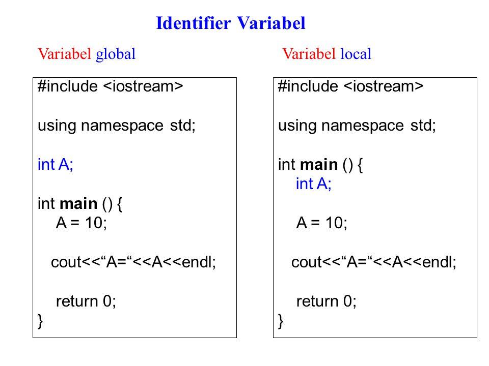#include using namespace std; int contoh() { int A = 0; A = A + 10; return A; } int main() { int x, y, z; x = contoh(); y = contoh(); z = contoh(); cout<< Nilai fungsi pertama : <<x<<endl; cout<< Nilai fungsi kedua : <<y<<endl; cout<< Nilai fungsi ketiga : <<z<<endl; return 0; } variable biasa: nilai terakhir tidak akan disimpan inisiasi variable = 0 Hasil: nilai fungsi pertama : 10 nilai fungsi kedua : 10 nilai fungsi ketiga : 10 variabel biasa vs variabel statis