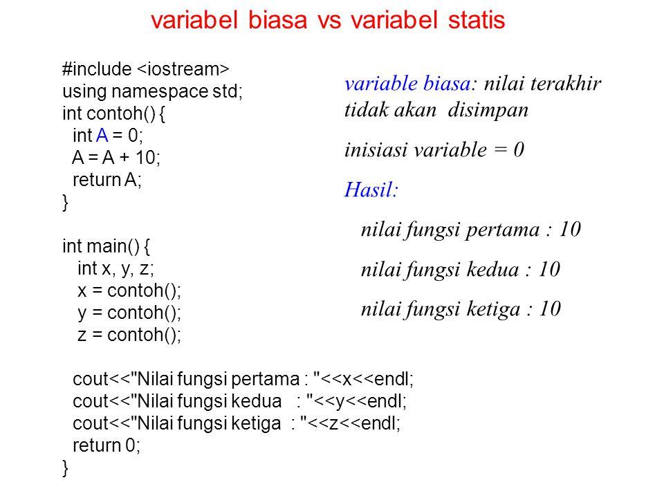#include using namespace std; int contoh() { static int A = 0; A = A + 10; return A; } int main() { int x, y, z; x = contoh(); y = contoh(); z = contoh(); cout<< Nilai fungsi pertama : <<x<<endl; cout<< Nilai fungsi kedua : <<y<<endl; cout<< Nilai fungsi ketiga : <<z<<endl; return 0; } variable statis: nilai terakhir akan terus disimpan inisiasi variable = 0 Hasil: nilai fungsi pertama : 10 nilai fungsi kedua : 20 nilai fungsi ketiga : 30 variabel biasa vs variabel statis
