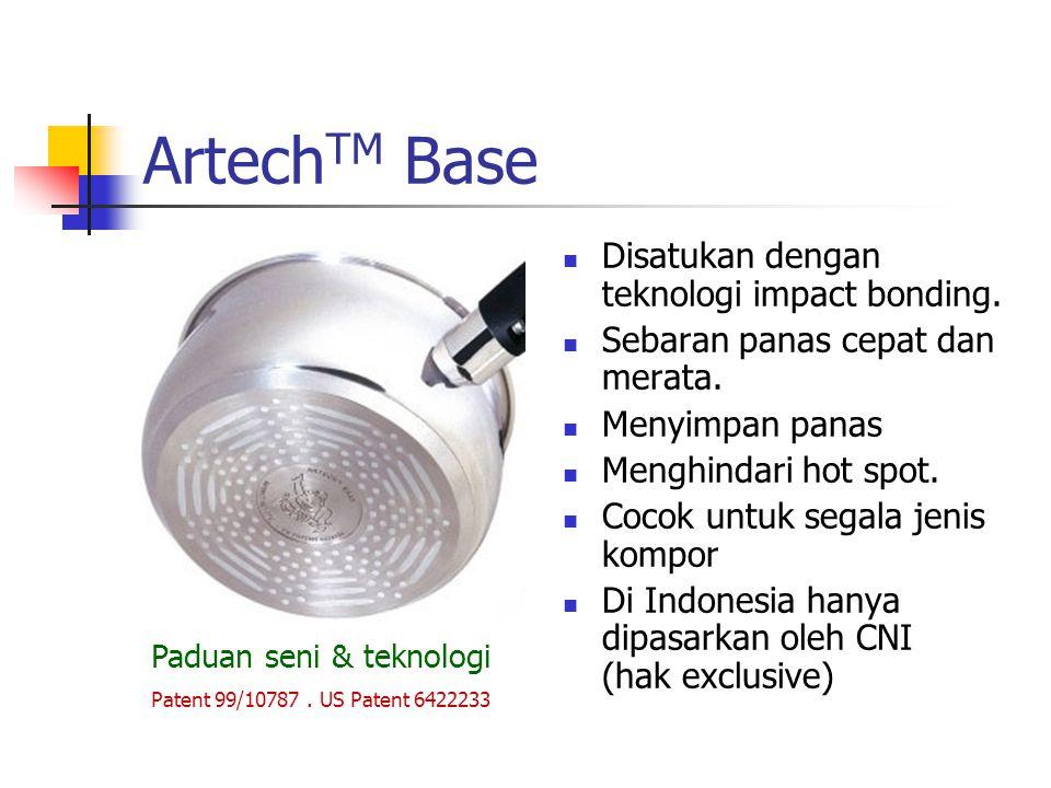 Artech TM Base Disatukan dengan teknologi impact bonding. Sebaran panas cepat dan merata. Menyimpan panas Menghindari hot spot. Cocok untuk segala jen