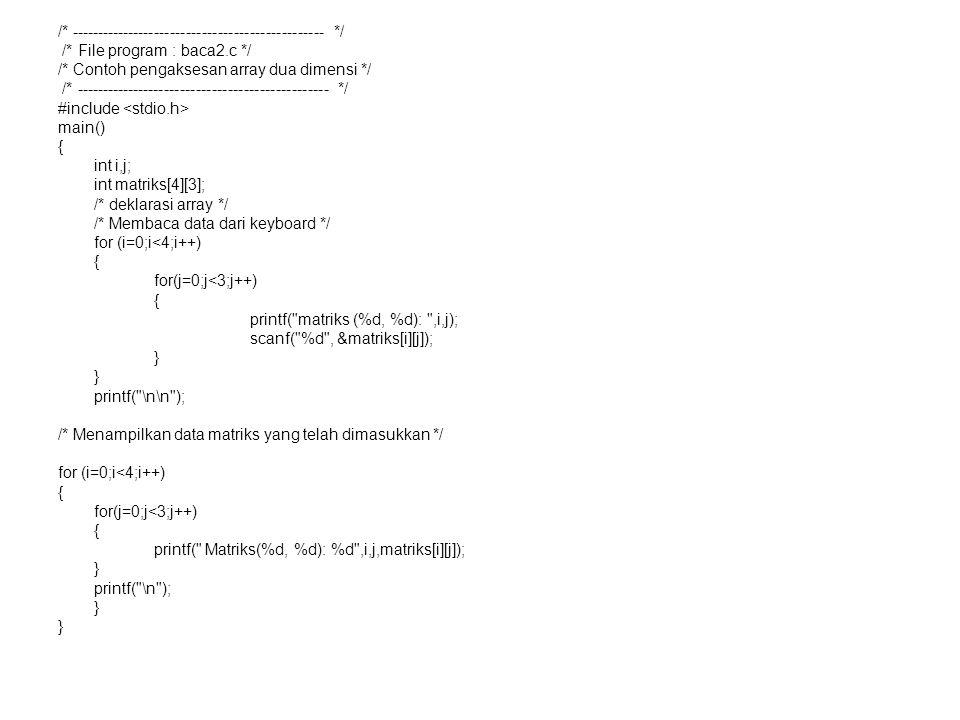 /* ------------------------------------------------ */ /* File program : baca2.c */ /* Contoh pengaksesan array dua dimensi */ /* --------------------
