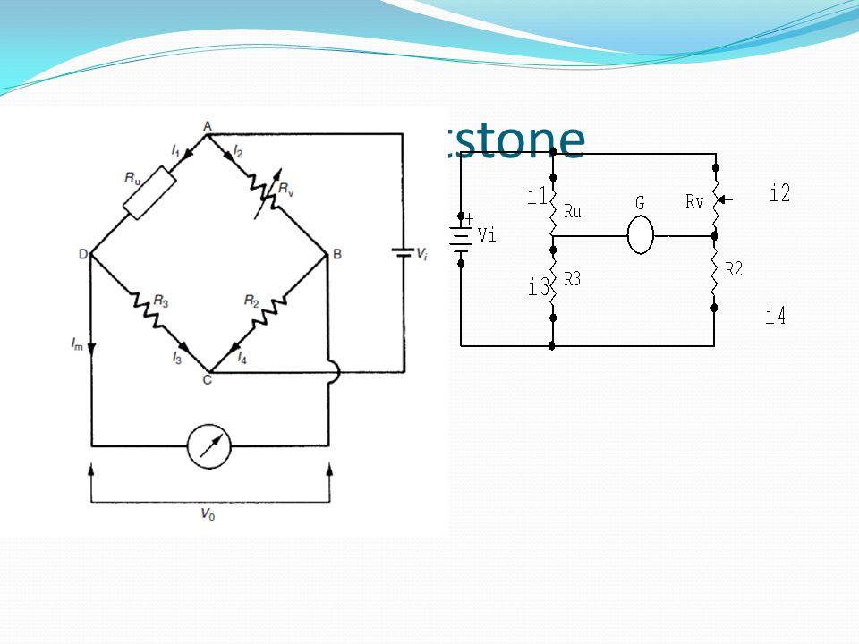 Jembatan wheatstone terdiri atas hambatan yang akan dicari nilai hambatannya (Ru), dua hambatan yang presisi (R2 dan R3), resistor variabel (Rv), dan galvanometer.