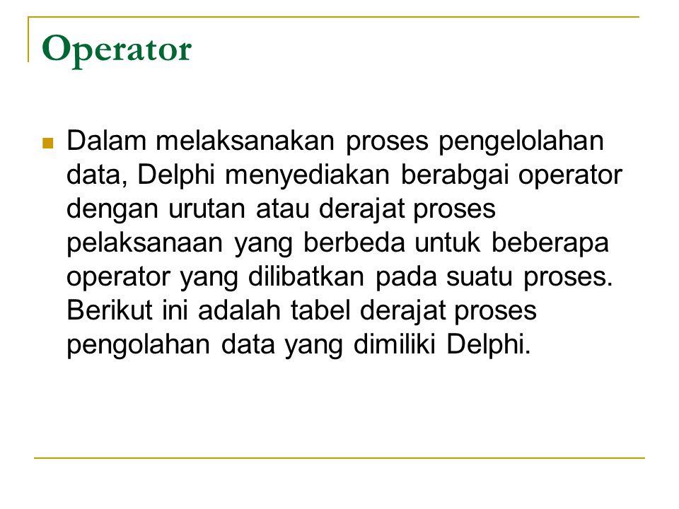 Operator Dalam melaksanakan proses pengelolahan data, Delphi menyediakan berabgai operator dengan urutan atau derajat proses pelaksanaan yang berbeda untuk beberapa operator yang dilibatkan pada suatu proses.